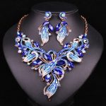 Fashion Indian Crystal Bridal <b>Jewelry</b> Sets Leaves Wedding Necklace Earrings For Brides Party Costume <b>Accessories</b> Gift For Women