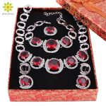 <b>Jewelry</b> Sets For Women Round Design Red Crystal Necklace Earrings Set Silver Plated Party Wedding Bridal <b>Accessories</b>+Gift Boxes