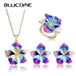 Blucome Purple Enamel <b>Jewelry</b> Sets Flower Pendant Thin Necklace French Hooks Earrings Ring Anel Bijuteria Wedding <b>Accessories</b>