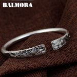 BALMORA 990 Pure Silver Lotus Flower Open Bangles for Women Mother Gift about 18cm Bracelet <b>Jewelry</b> <b>Accessories</b> Esposas SZ0508