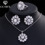 CC <b>Jewelry</b> Set For Women <b>Accessories</b> White Gold Color 3 Pcs Necklace Earrings Ring Cubic Zirconia Bijoux Size 7 8 9 CCAS185e