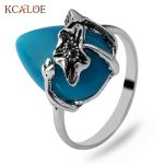 KCALOE Vintage Bands Blue Natural Stone Rings For Women Fashion <b>Antique</b> Silver Color Flowers With Stones Ring Ladies <b>Jewelry</b>