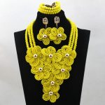 Newest Yellow Nigerian Wedding Indian Costume Bridal <b>Accessory</b> <b>Jewelry</b> Set African Crystal Beads Necklace Set Big Flowers ALJ770