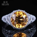 HELON Classical simple Vintage <b>Art</b> <b>Deco</b> 925 sterling silver 100% Genuine Citrine ring Engagement Wedding lady party <b>jewelry</b> Ring