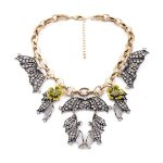 <b>Antique</b> Silver Color Pendants Enamel Flowers Costume Necklace Big-name Fashion Women <b>Jewelry</b>