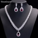 ThreeGraces Famous Brand African Design Bridal <b>Accessories</b> Red Cubic Zirconia Beads <b>Jewelry</b> Sets For Wedding Costume JS002