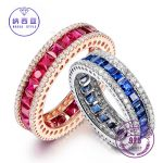 925 Sterling Silver Round With Clear Zircon Blue & Red Spinel Vintage <b>Antique</b> Band Ring For Women Fine <b>Jewelry</b> Valentines gift