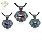 3 Color Styles Fashion <b>Antique</b> Silver Plated Vintage National Wind Retro Gem Statement Pendant Necklace Luxury <b>Jewelry</b>