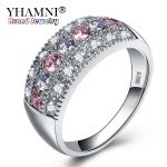 YHAMNI Original Real Solid 925 Silver Rings Luxury Fine <b>Jewelry</b> Multicolor Cubic Zircon Fashion <b>Accessories</b> Rings for Women KY01
