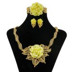 2018 Sales New Yellow Rose Crystal <b>Accessories</b> Dubai Africa Golden Necklace <b>Jewelry</b> Sets Fashion Wedding Party Women <b>Jewelry</b>