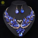 Crystal Bridal <b>Jewelry</b> Sets Gold Color Swan Pendant Necklace Women Gift Party Wedding Prom Necklace Earring <b>Accessories</b>