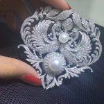 Victoria Natrual fresh water pearl brooch pins double Phoenix brooch pins 925 <b>sterling</b> <b>silver</b> with cubic zircon fashion <b>jewelry</b>