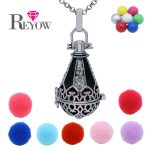 Aromatherapy <b>Jewelry</b> <b>Antique</b> Silver Waterdrop Microphone Floating Locket Necklace Essential Oil Diffuser Chime Ball Pendant