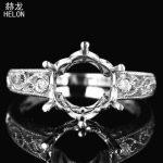 Fine <b>Jewelry</b> 925 Sterling Silver Round 9 -10mm Semi Mount Genuine AAA Graded Cubic Zirconia <b>Art</b> <b>Deco</b> Engagement Ring Wholesale