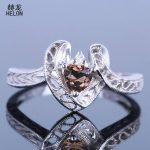 Fine <b>Jewelry</b> Trillion 5x5mm Genuine Smokey Quartz & Diamonds Engagement Wedding Ring Solid 10K White Gold Vintage <b>Art</b> <b>Deco</b> Ring