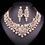 Fashion Pearl Statement Necklace Earrings Bridal <b>Jewelry</b> Sets Bride Gold Color Jewellery Wedding Prom Dress <b>Accessories</b> Women