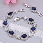 Bella Fashion Elegant Teardrop Bridal Bracelet Blue Cubic Zircon Bracelet For Women Wedding <b>Accessories</b> Party <b>Jewelry</b> Gift