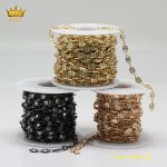 5meters 4mm Square Zircon Fashion Chains <b>Jewelry</b>,Golden/Gunmetal/<b>Antique</b> Brass Plated Copper Plated Zircon Beaded Chains HX172