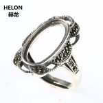 Women Thai Sterling Silver 925 Semi Mount Ring <b>Art</b> <b>Deco</b> 9.5×17.5mm Oval Cabochon Engagement Wedding Fine <b>Jewelry</b> Adjustable