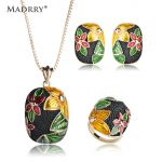 Madrry Vintage Square Flower Necklace Earrings Ring Set Alloy Enamel <b>Jewelry</b> Sets For Women Wedding Party <b>Accessories</b> Bijoux