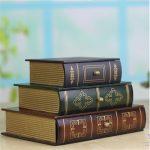 1 pcs <b>Antique</b> Book Design Wood Wooden <b>Jewelry</b> Box Classic 3 drawer 3-Stack Books Set Design