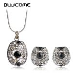 Blucome Vintage Full Pave Crystal Square Shape Necklace Earrings Sets <b>Jewelry</b> Set For Women Girls Party Clothing <b>Accessories</b>