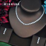 HIBRIDE Round Cut High Quality Cubic Zirconia Fashion Women <b>Jewelry</b> Sets Necklace Set Wedding Dress <b>Accessories</b> Gifts N-443