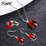 JYouHF Fashion Red Corundum Stone <b>Jewelry</b> Sets Oval Shaped Necklace Earring Ring <b>Jewelry</b> Wedding Bridal Dress <b>Accessories</b> Gift