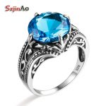 Szjinao Solid 925 Sterling Silver Ring Vintage Wedding For Women Luxury <b>Antique</b> Blue Topaz Indian <b>Jewelry</b> Wholesale aneis