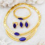 2018 Fashion European Women 24 Gold <b>Jewelry</b> Sets Blue Crystal Necklace Ring Earrings Italian Bride Wedding <b>Jewelry</b> <b>Accessories</b>