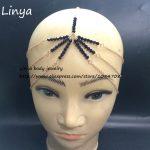 HC-098 Black and Gold Color Star Head Chain, <b>Art</b> <b>Deco</b>, Bridal Headpiece, Chain headband, head <b>jewelry</b> chain