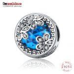 LZESHINE <b>Antique</b> 925 Sterling Silver Dazzling Daisy Meadow,Blue/Red CZ Flower Beads Fit Original Bracelets <b>Jewelry</b> Gift PSMB0929