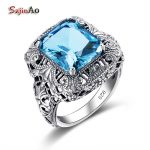 Szjinao Luxury Brand Aquamarine Samurai Ring Bohemian Rock Square Concave Solid 925 Sterling Silver <b>Antique</b> Engagement <b>Jewelry</b>