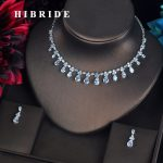 HIBRIDE Clear/Blue/Green Small Water Drop Bridal <b>Jewelry</b> Set Costume <b>jewelry</b> Earring Necklace Set For Women <b>Accessories</b> N-612