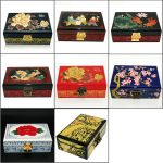 <b>Jewelry</b> Box <b>Antique</b> Storage Boxes Bins Chinese Lacquerware Lacquer Arts with Lock 21x14x8cm Flower Wooden Rectangle Wedding Gift