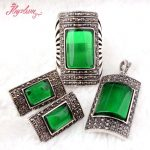 Rectangle Green CZ Crystal Beads <b>Antiqued</b> Tibetan Silver Classical Fashion Style Female Short <b>Jewelry</b>,Free Shipping