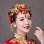 Handmade Headpiece Hair Combs Vintage National Red Chinese Bowknot Design Hair <b>Accessories</b> for Wedding Bride Headdress <b>Jewelry</b>