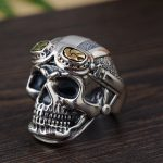 The golden deer wholesale <b>jewelry</b> line personality skull opening ring male money S925 pure silver <b>antique</b> style