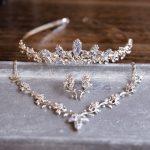 Dower me Luxury Silver Zirconia Wedding <b>Jewelry</b> Sets with Tiara Bridal Necklace Earrings Women <b>Accessories</b>