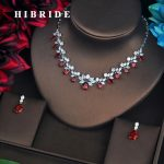 HIBRIDE Brilliant Red Cubic Zirconia Bridal <b>Jewelry</b> Sets For Women Pendant Set Dress <b>Accessories</b> Necklace Set Party Gifts N-582