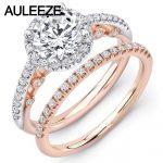 U-Pave Moissanites Wedding Sets Fine <b>Jewelry</b> 14K Two Tone Gold Rings Unique Lab Grown Diamond Ring <b>Art</b> <b>Deco</b> Weddings Ring Set