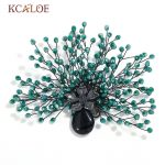 KCALOE Green Bouquet Crystal Bead Brooch Black Natural Stone Women Pins And Brooches Vintage <b>Antique</b> Flowers Hijab Pin <b>Jewelry</b>