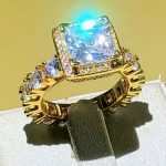 Real Solid 925 Silver & Yellow gold Wedding Rings <b>Jewelry</b> for Women Square 3 Carat Sona CZ Diamant Engagement Ring <b>Accessories</b>