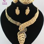 New Arrival African Costume <b>Jewelry</b> Sets Gold color Crystal Wedding Women Bridal <b>Accessories</b> Nigerian Necklace Set