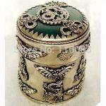 Vintage Handwork Teapot For Chinese Oriental Exquisite <b>jewelry</b> Tibet silver dragon green jade box <b>Antique</b> Metal Wholesale