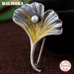 BALMORA 925 Sterling Silver Simulated Pearl Ginkgo Pendants for Women Vintage <b>Jewelry</b> <b>Accessories</b> Gift Without a Chain SY14318