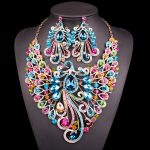 Big Crystal Bridal <b>Jewelry</b> Sets Wedding Party Costume <b>Accessory</b> Indian Necklace Earrings for bride Peacock jewellery sets Women