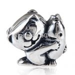 European <b>Antique</b> 925 Sterling Silver Cat Hugging Fish Charm Beads Compatible DIY Bracelets <b>Jewelry</b>