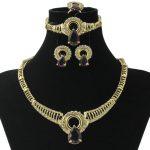 2017 New Fashion Christmas Gifts Gold <b>Jewelry</b> Set Italy Hollow Purple Crystal Necklace Dubai Bride Wedding <b>Jewelry</b> <b>Accessories</b>