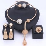 Charm Dubai Gold Color Crystal <b>Jewelry</b> Sets For Women African Pendant Necklace Earrings Bangle Rings Party Dress <b>Accessories</b>